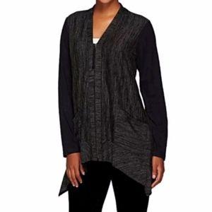 LOGO by Lori Goldstein Knit Cardigan Sweater Suede
